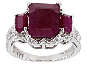 Red Ruby Rhodium Over Sterling Silver Ring 4.62ctw