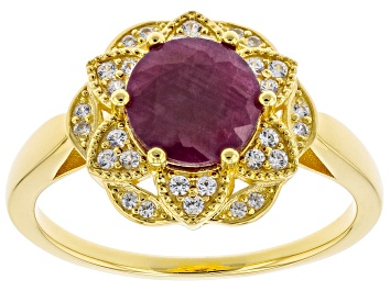 Picture of Red Ruby 18k Yellow Gold Over Sterling Silver Ring 2.52ctw