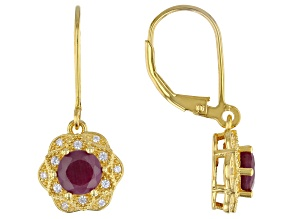Indian Ruby With White Zircon 18k Yellow Gold Over Sterling Silver Earrings 2.21ctw