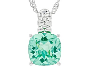 Green Lab Created Spinel Rhodium Over Sterling Silver Pendant With Chain 3.06ct