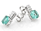 Green Lab Created Spinel Rhodium Over Sterling Silver Earrings 3.15ctw