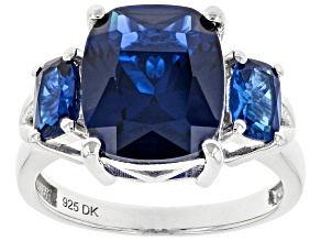 Blue Lab Created Spinel Rhodium Over Sterling Silver Ring 5.19ctw