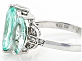 Lab Created Green Spinel Rhodium Over Silver Ring 3.52ctw