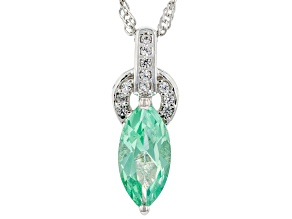 Lab Created Green Spinel Rhodium Over Silver Pendant With Chain 1.87ctw