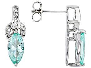 Lab Created Green Spinel Rhodium Over Silver Earrings 1.96ctw