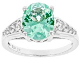 Green Lab Created Spinel Rhodium Over Sterling Silver Ring 2.49ctw