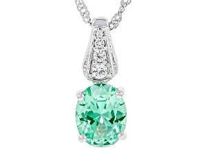 Green Lab Created Spinel Rhodium Over Sterling Silver Pendant with Chain 2.41ctw