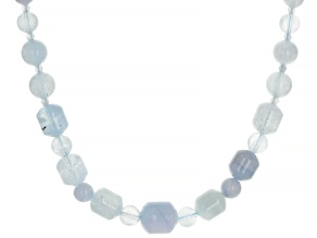 Blue Aquamarine Rhodium Over Sterling Silver Necklace.