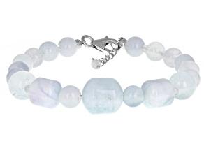 Blue Aquamarine Rhodium Over Sterling Silver Bracelet.