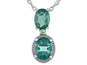 Green Fluorite Rhodium Over Sterling Silver Pendant With Chain 3.57ctw