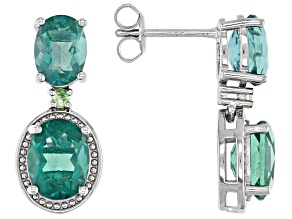 Green Fluorite Rhodium Over Sterling Silver Earrings 7.25ctw