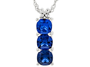 Blue Lab Created Spinel Rhodium Over Sterling Silver Pendant With Chain 2.04ctw