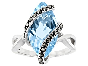 Blue Topaz Rhodium Over Sterling Silver Ring 6.00ct