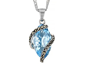 Blue Topaz Rhodium Over Sterling Silver Pendant With Chain 6.00ctw