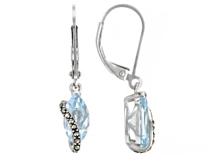 Blue Topaz Rhodium Over Sterling Silver Earrings 2.18ctw