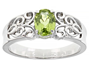 Green Peridot Rhodium Over Sterling Silver Ring. 0.72ct