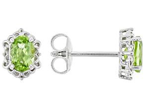 Green Manchurian Peridot™ Rhodium Over Sterling Silver Earrings. 0.80ctw