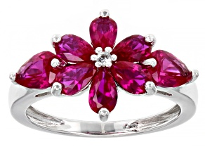Red Lab Created Ruby Rhodium Over Sterling Silver Ring. 1.80ctw