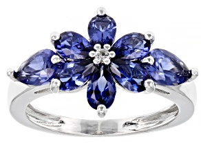 Blue Lab Created Sapphire Rhodium Over Sterling Silver Ring. 2.08ctw.