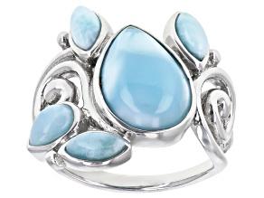 Blue Larimar Rhodium Over Sterling Silver Ring.