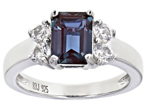 Blue Lab Created Alexandrite Rhodium Over Sterling Silver Ring 2.26ctw