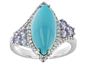 Blue Sleeping Beauty Turquoise Rhodium Over  Silver Ring 0.60ctw