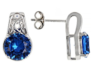 Blue Lab Created Spinel Rhodium Over Sterling Silver Stud Earrings 3.43ctw