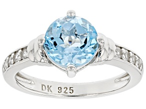 Blue Topaz Rhodium Over Sterling Silver Ring 2.23ctw