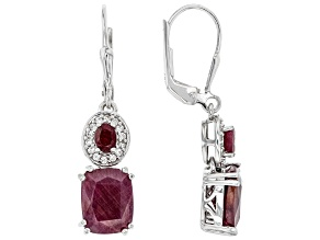 Red Ruby Rhodium Over Sterling Silver Earring 6.54ctw