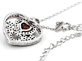 Red Garnet Rhodium Over Silver MOM Pendant With Chain 1.69ctw
