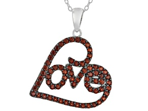 Red Garnet Rhodium Over Sterling Silver LOVE Pendant With Chain 1.19ctw