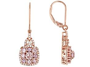 Color Shift Garnet 18k Rose Gold Over Silver Dangle Earrings 2.01ctw