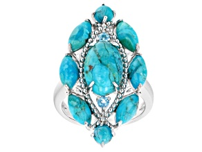 Blue Turquoise Rhodium Over Sterling Silver Ring. 0.14ctw