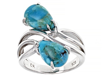 Picture of Blue Turquoise Rhodium Over Sterling Silver Bypass Ring