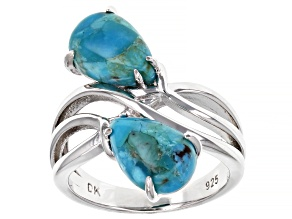 Blue Turquoise Rhodium Over Sterling Silver Bypass Ring