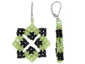 Black Spinel Rhodium Over Silver Earrings