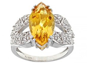 Yellow Citrine Rhodium Over Sterling Silver Ring 3.98ctw