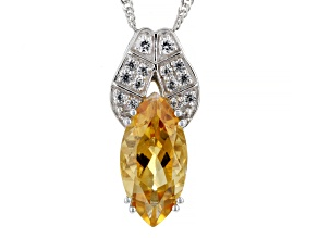 Yellow Citrine Rhodium Over Sterling Silver Pendant Chain 3.69ctw