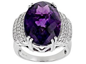 Purple Amethyst Rhodium Over Silver Ring 10.34ctw