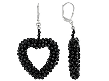 Picture of Black Spinel Rhodium Over Sterling Silver Heart Shape Earrings