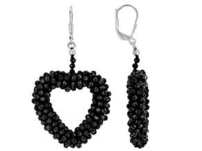 Black Spinel Rhodium Over Sterling Silver Heart Shape Earrings