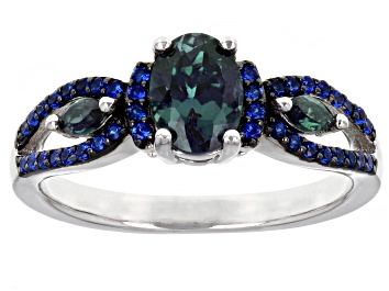 Picture of Blue Lab Created Alexandrite Rhodium Over Sterling Silver Ring. 1.17ctw