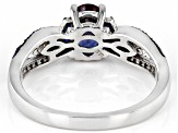 Blue Lab Created Alexandrite Rhodium Over Sterling Silver Ring. 1.17ctw