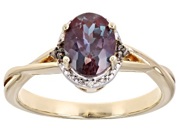 Picture of Blue Lab Created Alexandrite 18K Yellow Gold Over Sterling Silver Ring. 1.25ctw