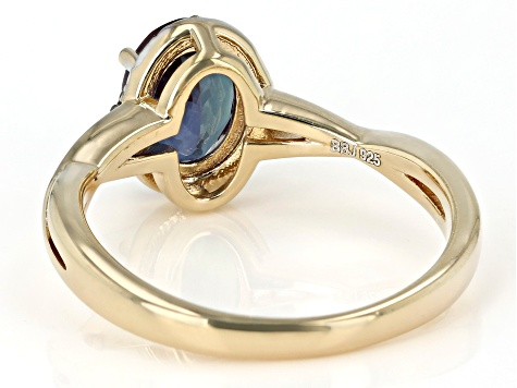 Blue Lab Created Alexandrite 18K Yellow Gold Over Sterling Silver Ring. 1.25ctw