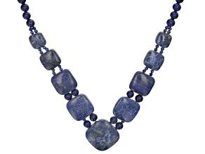 Blue Lapis Lazuli Rhodium Rhodium Over Sterling Silver Necklace.