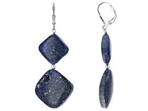 Blue Lapis Lazuli Rhodium Over Sterling Silver Dangle Earrings.