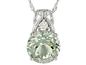 Green Prasiolite Rhodium Over Sterling Silver Pendant With Chain. 5.41ctw