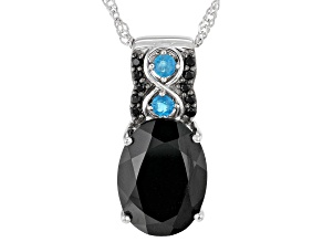 Black Spinel Rhodium Over Sterling Silver Pendant With Chain 5.96ctw