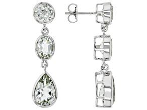 Green Prasiolite Rhodium Over Sterling Silver Dangle Earrings 10.62ctw